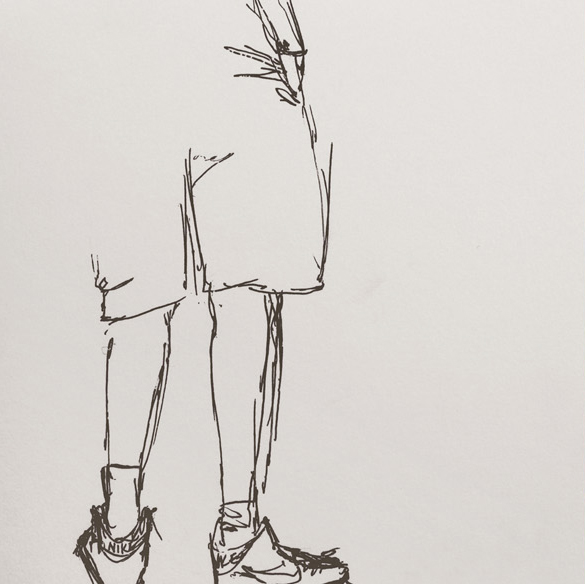 sporty boy, gel ink on sketch paper, june 2012